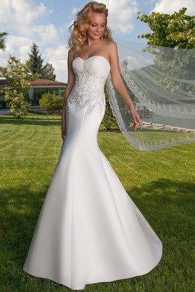 Mermaid Ruched Sweetheart Satin Wedding Dress With Lace Up