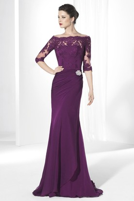 Sheath Floor-Length Broach 3-4-Sleeve Off-The-Shoulder Chiffon Prom Dress With Appliques