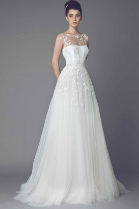 Bateau Maxi Appliqued Tulle Wedding Dress With Sweep Train And V Back