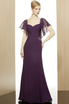 Sheath Poet-Short-Sleeve Beaded Long Sweetheart Chiffon Formal Dress With Zipper Back And Side Draping