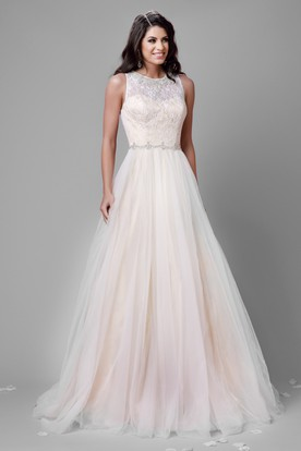 A Line Tulle Sleeveless Jewel Neck Wedding Dress Featuring Lace Bodice