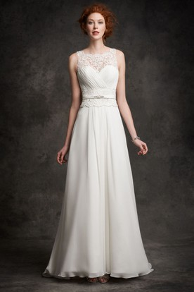 Sheath Square-Neck Floor-Length Sleeveless Ruched Chiffon Wedding Dress With Lace And Waist Jewellery