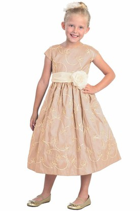 Tea-Length Floral Cap-Sleeve Bowed Taffeta Flower Girl Dress With Embroidery