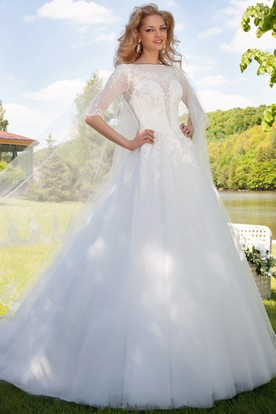 Ball Gown Bateau Neck Illusion Sleeve Appliqued Tulle Wedding Dress