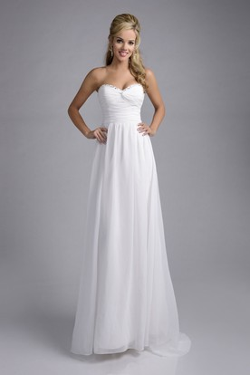 Knotted Sweetheart Chiffon A-Line Wedding Dress With Trim Rhinestones