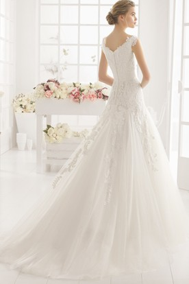 A-Line Jeweled Off-The-Shoulder Tulle Wedding Dress