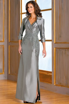 Sleeveless V-Neck Satin Mother Of The Bride Dress With Appliques And Jacket Style