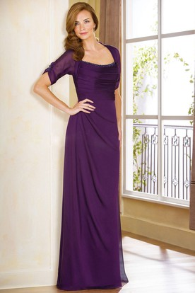 Half-Sleeved Long Gown With Ruches And Beadings