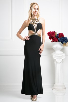 Sheath Ankle-Length Jewel-Neck Sleeveless Jersey Illusion Dress With Sequins