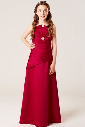 Floor-Length Strapless Floral Satin Bridesmaid Dress With Ruching And Lace-Up