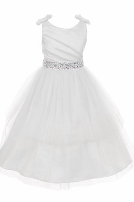 Jewel Mini Pleated Tiered Tulle&Satin Flower Girl Dress With Ribbon