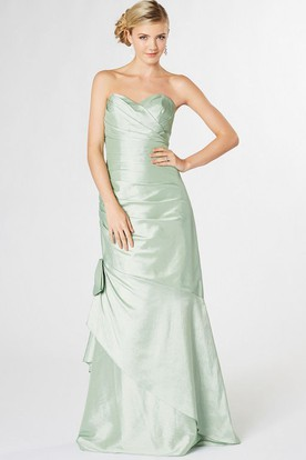 Long Sweetheart Ruched Taffeta Bridesmaid Dress With Draping And Corset Back