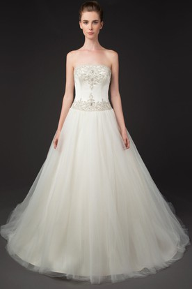 A-Line Strapless Beaded Tulle Wedding Dress With Chapel Train