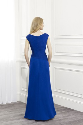 Maxi V-Neck Draped Sleeveless Chiffon Mother Of The Bride Dress With Broach