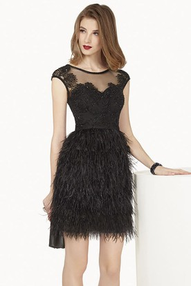 Jewel Neck Cap Sleeve Feather Mini Prom Dress With Appliques And Illusion Top