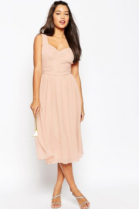 Tea-Length One-Shoulder Criss-Cross Sleeveless Chiffon Bridesmaid Dress