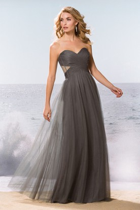 Sweetheart A-Line Tulle Gown With Pleats And Side Cuts