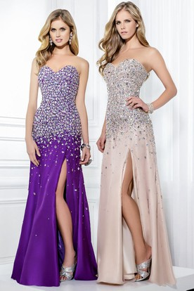 Mermaid Maxi Sweetheart Beaded Sleeveless Jersey Prom Dress
