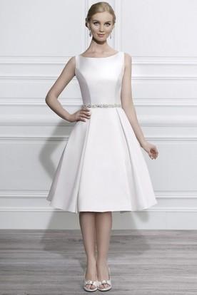 Scoop Midi Jeweled Satin Wedding Dress With Illusion
