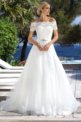 Floor-Length Off-The-Shoulder Jeweled Tulle Wedding Dress With Appliques