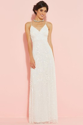 Sheath Spaghetti Sleeveless Sequined Floor-Length Wedding Dress