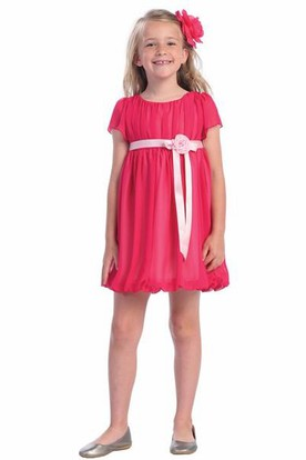 Short Cap-Sleeve Chiffon&Satin Flower Girl Dress