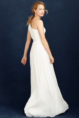 One-Shoulder Chiffon Wedding Dress With Ruching