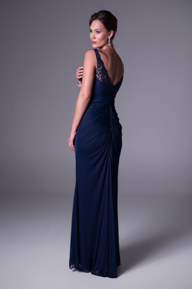 Sheath Floor-Length Lace Sleeveless Bateau-Neck Chiffon Bridesmaid Dress With Draping