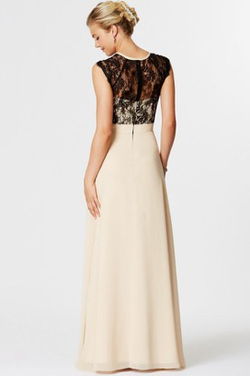 High Neck Lace Sleeveless Chiffon Bridesmaid Dress With Illusion Back