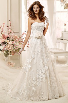 Strapless Lace-Applique Wedding Dress with Flowers and Back Bow