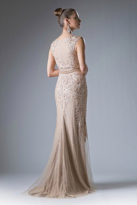 Sheath Scoop-Neck Sleeveless Lace Dress With Beading And Appliques