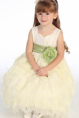 Sweetheart Tea-Length Tiered Chiffon&Taffeta Flower Girl Dress