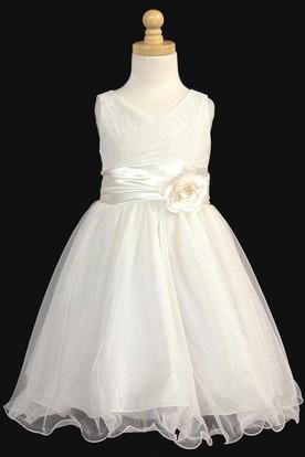 Knee-Length V-Neck Tiered Charmeuse Flower Girl Dress