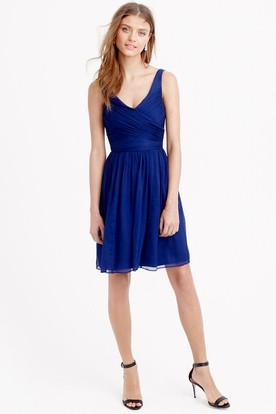 Short Criss-Cross V-Neck Sleeveless Chiffon Bridesmaid Dress