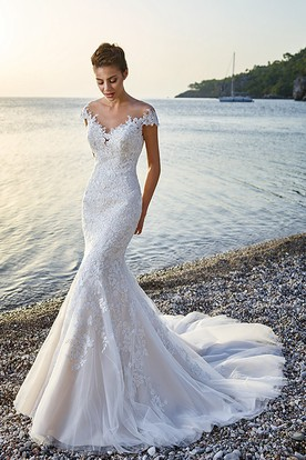 Trumpet Floor Length V Neck Cap Sleeve LaceTulle Wedding Dress With Appliques