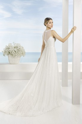 A-Line Floor-Length Scoop Beaded Sleeveless Tulle Wedding Dress With Pleats And Illusion Back