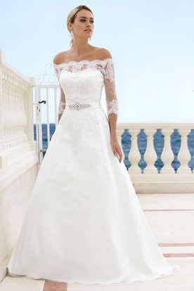 Floor-Length Off-The-Shoulder Appliqued 3-4-Sleeve Satin Wedding Dress