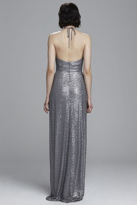 V-Neck Sleeveless Sequin Bridesmaid Dress With Straps
