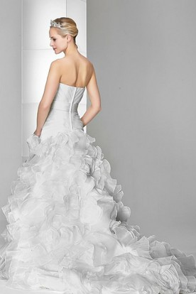 A-Line Jeweled Sweetheart Floor-Length Organza Wedding Dress With Criss Cross And Brush Train