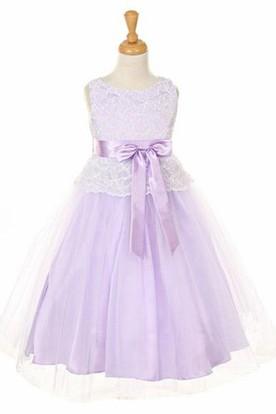 Tea-Length Bowed Tulle&Lace Flower Girl Dress
