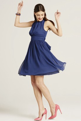 Mini High Neck Ruched Sleeveless Chiffon Bridesmaid Dress With Bow