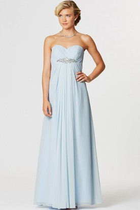 Sweetheart Sleeveless Ruched Empire Chiffon Bridesmaid Dress