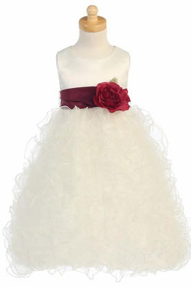 Floral Tea-Length Tiered Organza&Satin Flower Girl Dress With Ruffles
