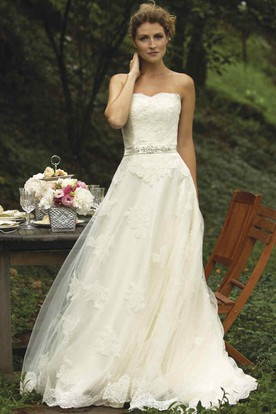 A-Line Jeweled Strapless Floor-Length Lace Wedding Dress With Appliques