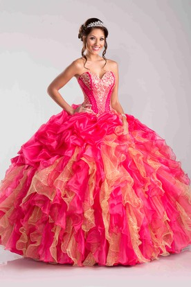 Beaded Sweetheart Ball Gown With Ruffles And Pick-Ups