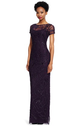 Sheath Illusion-Sleeve Splited Scoop-Neck Bridesmaid Dress With Sequins