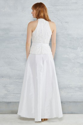 A-Line V-Neck Sleeveless High-Low Appliqued Taffeta Wedding Dress With Bow