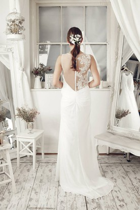 Sheath Scoop Sleeveless Criss-Cross Floor-Length Chiffon Wedding Dress With Illusion Back And Appliques
