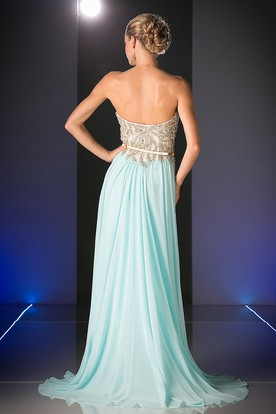 A-Line Maxi Sweetheart Chiffon Backless Dress With Beading And Split Front