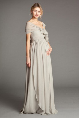 Cap Sleeve Bowed Empire V-Neck Chiffon Bridesmaid Dress With Draping